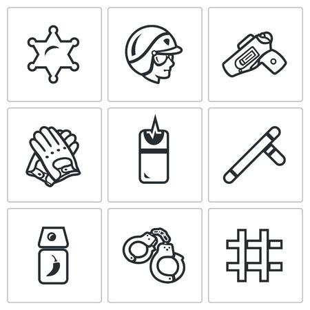 man gun: Badge, Man, Gun, Gloves, Taser, Baton, Tear Gas, Handcuffs, Prison