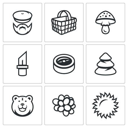 bear berry: Woodman, Shopping, Amanita, Knife, Compass, Fir, Bear, Berry, Sun. Illustration