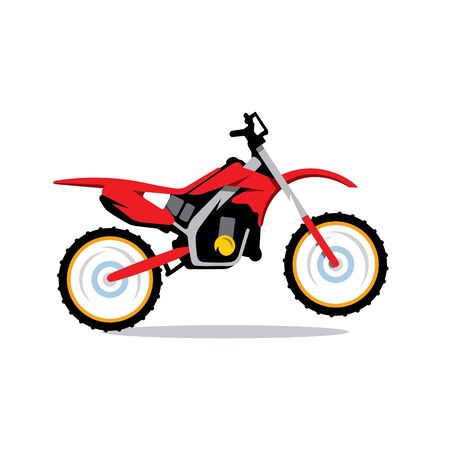 supercross: Red Motocross bike Isolated on a White Background