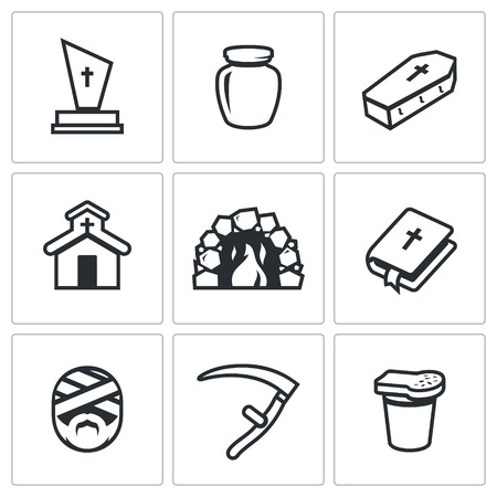 hereafter: Cemetery, Urn ashes, Grave, Building, Oven, Bible, Mummy, Death Scythe, Bread and glass.