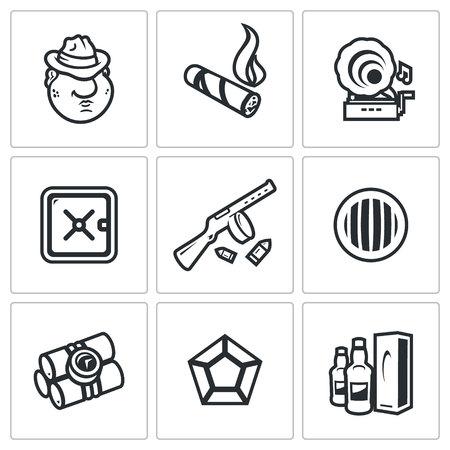 headlight: Criminal, Cigar, Gramophone, Safe, Machine gun, Headlight, Dynamite, Diamond, Alcohol