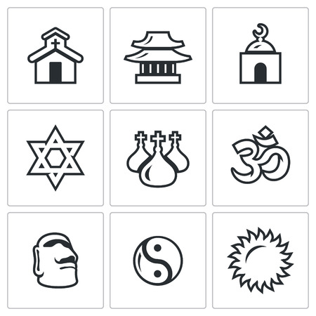 nirvana: Church, Temple, Mosque, Synagogue, Dome, Aum, Stone Idol, Yin Yang, Sun