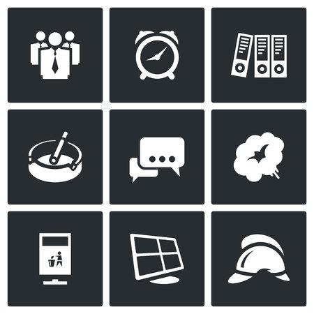 smoke alarm: People, Alarm Clock, Folders, Ashtray, Dialogue, Smoke, Recycling, Monitor, Fire Helmet. Illustration