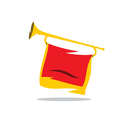 fanfare: Bugle Pioneer of Soviet youth organization Isolated on a White Background