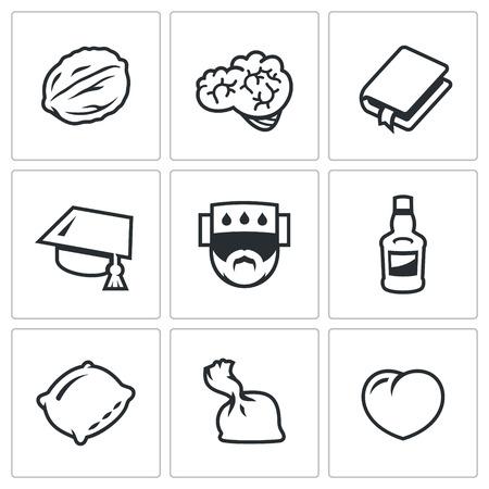 dose: Improvement and Deterioration of the Brain. Walnut, Hemisphere, Book, Scientific Hat, Temperature, Bottle, Pillow, Dose, Heart