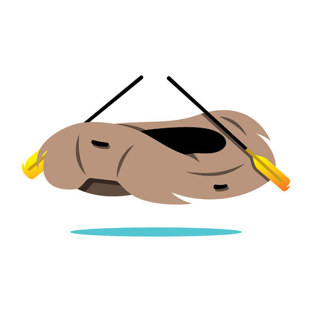in oars: Illustration of inflatable boat with oars Isolated on a White Background Illustration
