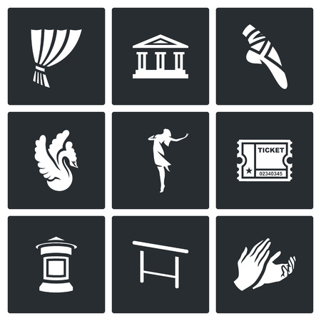 barre: Icons who identify Ballet Isolated on a Black Background Illustration