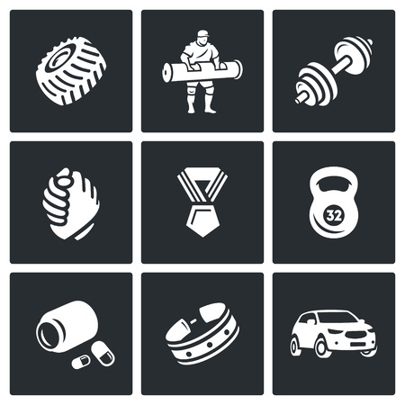 steroid: Tyre, Man, Weight, Hands, Medal, Sport Equipment, Steroid, Clothing Accessories, Transport Illustration