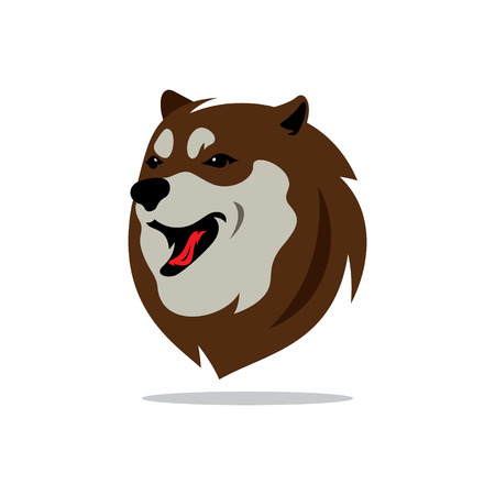 siberian husky: Muzzle of the Siberian Husky Isolated on a White Background Illustration