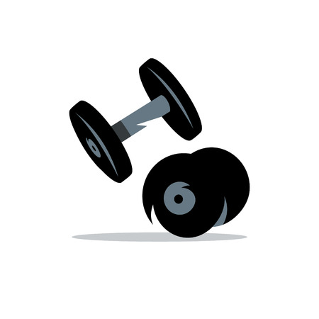 strength training: Two iron weights for strength training Isolated on a White Background Illustration