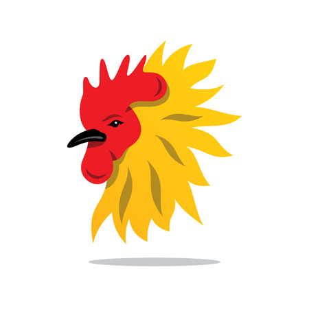 roost: Head Rooster Isolated on a White Background Illustration