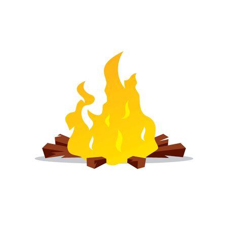 firewood: Burning firewood Isolated on a White Background
