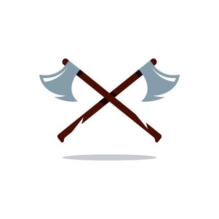 cartoon axe: Two Axes with wooden Handles Isolated on a White Background