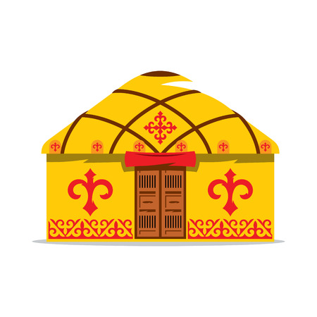 Gold yurt with traditional patterns on the walls and roof, with wooden double doors isolated on white background