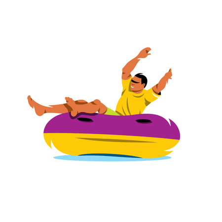 floater: The man in the yellow shirt is riding on an inflatable tube on the water