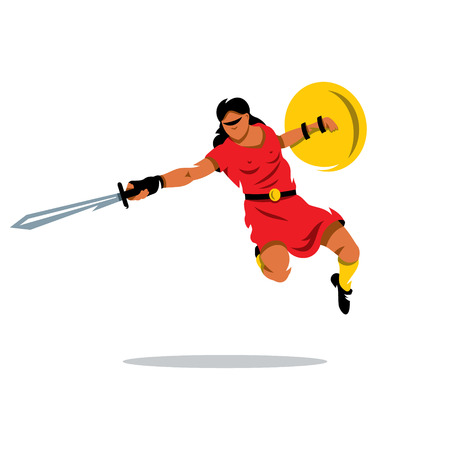 femida: A woman with a shield and sword in a jump attack. Isolated on a white background