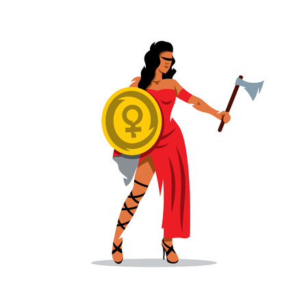 femida: A woman with a shield and an ax in a red dress isolated on a white background Illustration