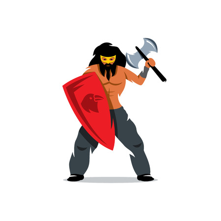 drakkar: Barbarian Warrior protected with a shield and waving an ax. Isolated on a white background