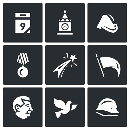 Calendar, kremlin, tower, soldier field cap, medal, fireworks, flag, veteran, dove of peace, helmet. Vector Illustration