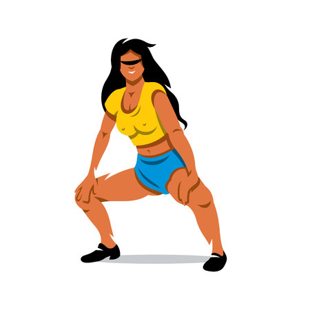 booty: Woman in yellow blouse and blue shorts dancing half-sitting twerk. Isolated on a white background