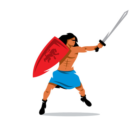 barbarian: Barbarian with a shield and sword in a jump attack. Isolated on a white background