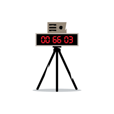 traffic violation: Digital clock with red seconds on a tripod. Isolated on a white background