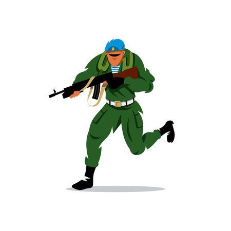 guardsman: Paratrooper running with assault rifle. Isolated on a white background