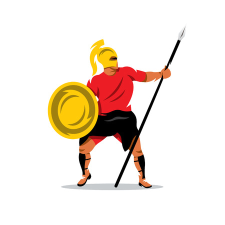 spartan: Gladiator in a helmet holding shield and a spear. Isolated on a white background