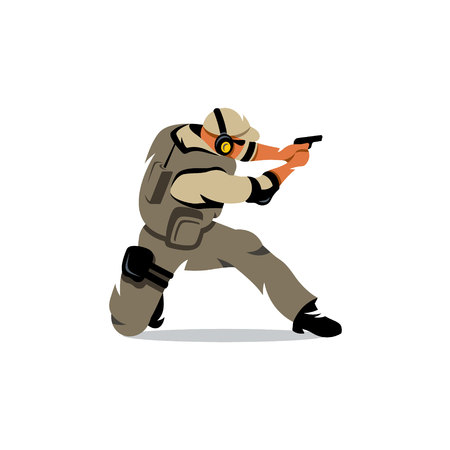 guardsman: The soldier fires his gun down on one knee. Isolated on a white background Illustration