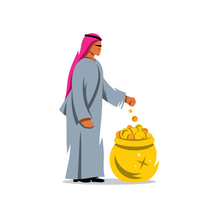 ecstatic: Arab throws a coin into the pot of treasure. Isolated on a white background