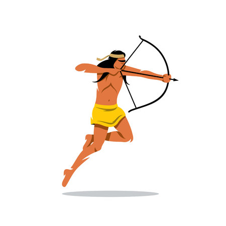 redskin: Redskin Warrior jumps and shoots. Isolated on a white background