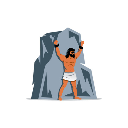 Man chained to a mountain isolated on a white background Illustration