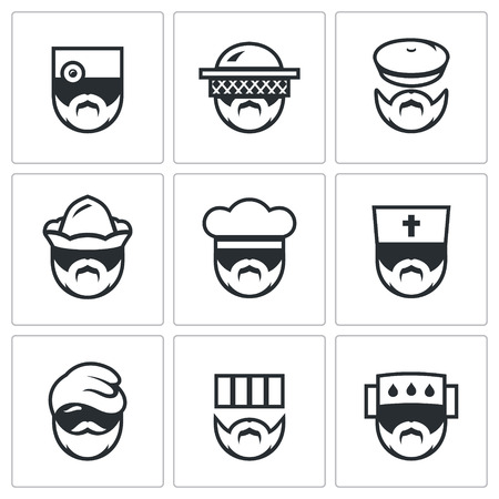 convict: Medic, Gardener, Forester, Boatman, Baker, Bishop, Migrant, Convict, infected person. Illustration
