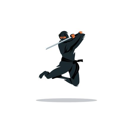 ninjutsu: Warrior in black dress blade strikes in a jump Isolated on a White Background