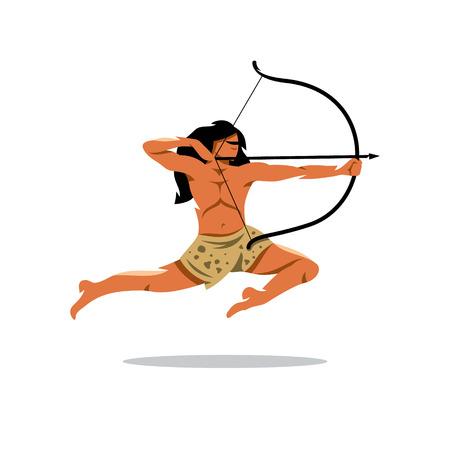 Guerrero saltos y lanzamientos. Aislado en un fondo blanco Ilustración de vector