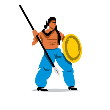 spearman: Gladiator in a helmet holding shield and a spear. Isolated on a white background