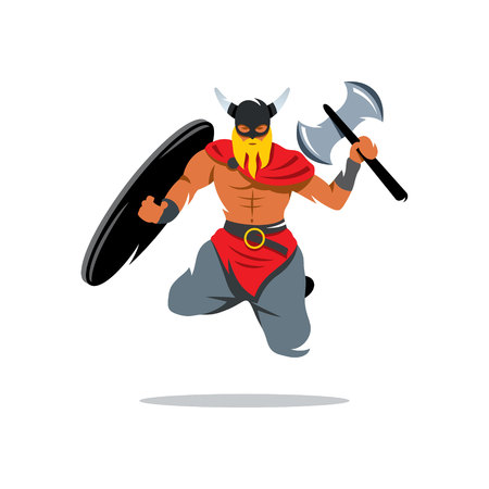barbarian: Barbarian Warrior jumping with a shield and waving an ax. Isolated on a white background Illustration
