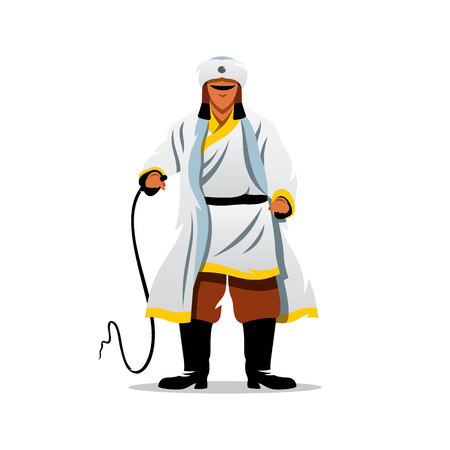 white fur: The man in white fur clothing brandishing a whip. Isolated on a white background