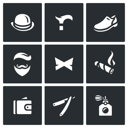 belongings: Items of clothing, accessories and personal belongings of a gent Illustration
