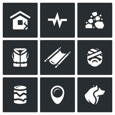 derrumbe: Servicio de Rescate de Operaciones del colapso terremoto y el edificio Vectores