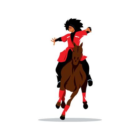 Man in het zwart bont hoed en een rode jurk op een paard zwaait met zijn armen.