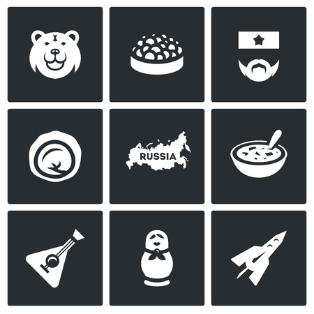 russian cuisine: Symbols of Russian country, food, animal, souvenir, industry, music Illustration