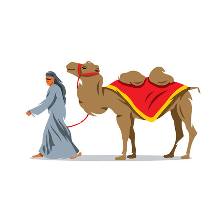 bedouin: Bedouin and camel on a white background
