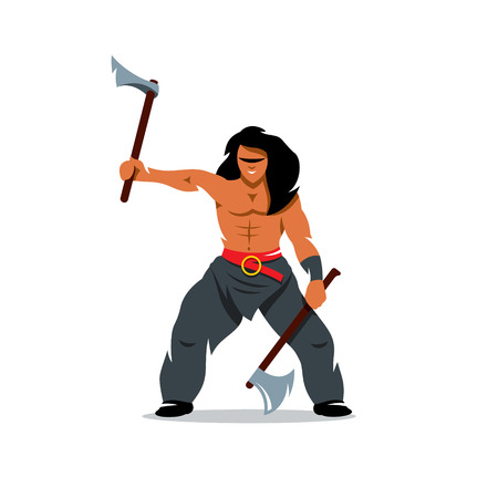 barbarian: Barbarian Warrior swinging arms. Isolated on a white background Illustration