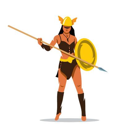 Mujer en un casco protector y la celebración de una lanza. Aislado en un fondo blanco Ilustración de vector
