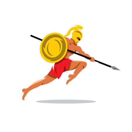 Gladiator in a helmet jumping with shield and a spear. Isolated on a white background