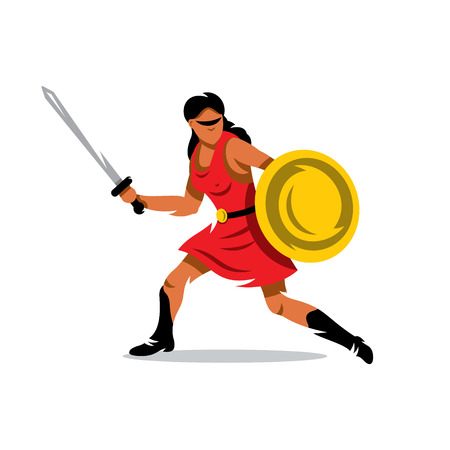 armor: A woman with a shield and sword in a red dress isolated on a white background Illustration