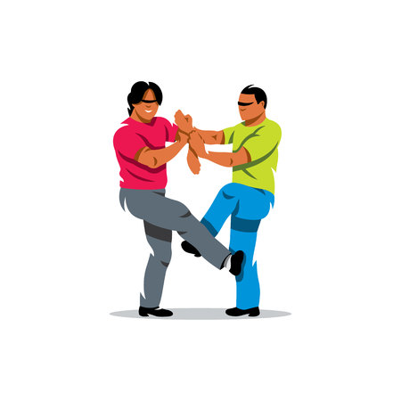 self training: Two people work out fighting skills in tandem with each other. Isolated on a white background Illustration