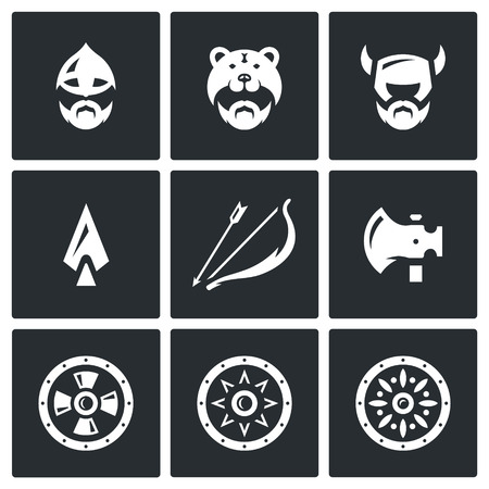 weaponry: North Warriors and their Weaponry. Isolated symbols on a black background