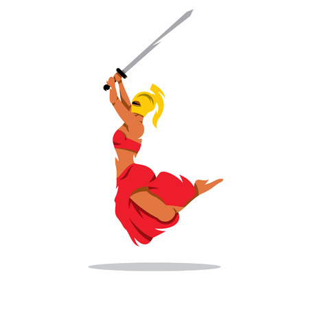 femida: A Spartan Girl with sword in a jump attack. Isolated on a white background